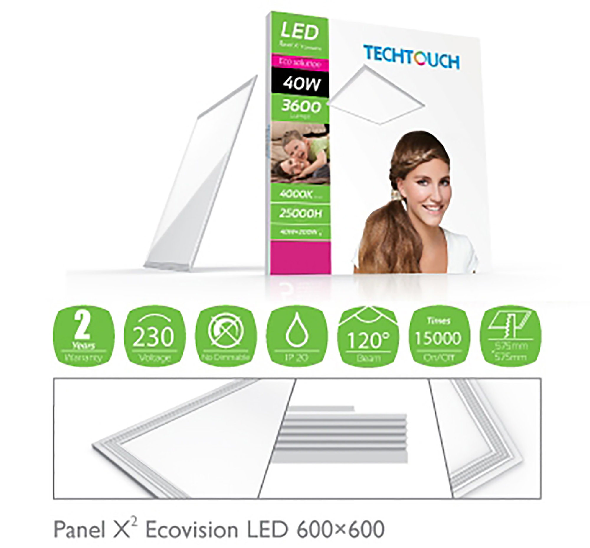 Panel X2 Ecovision Recessed Ceiling Luminaires Techtouch Square/Rectangular Recess Ceiling