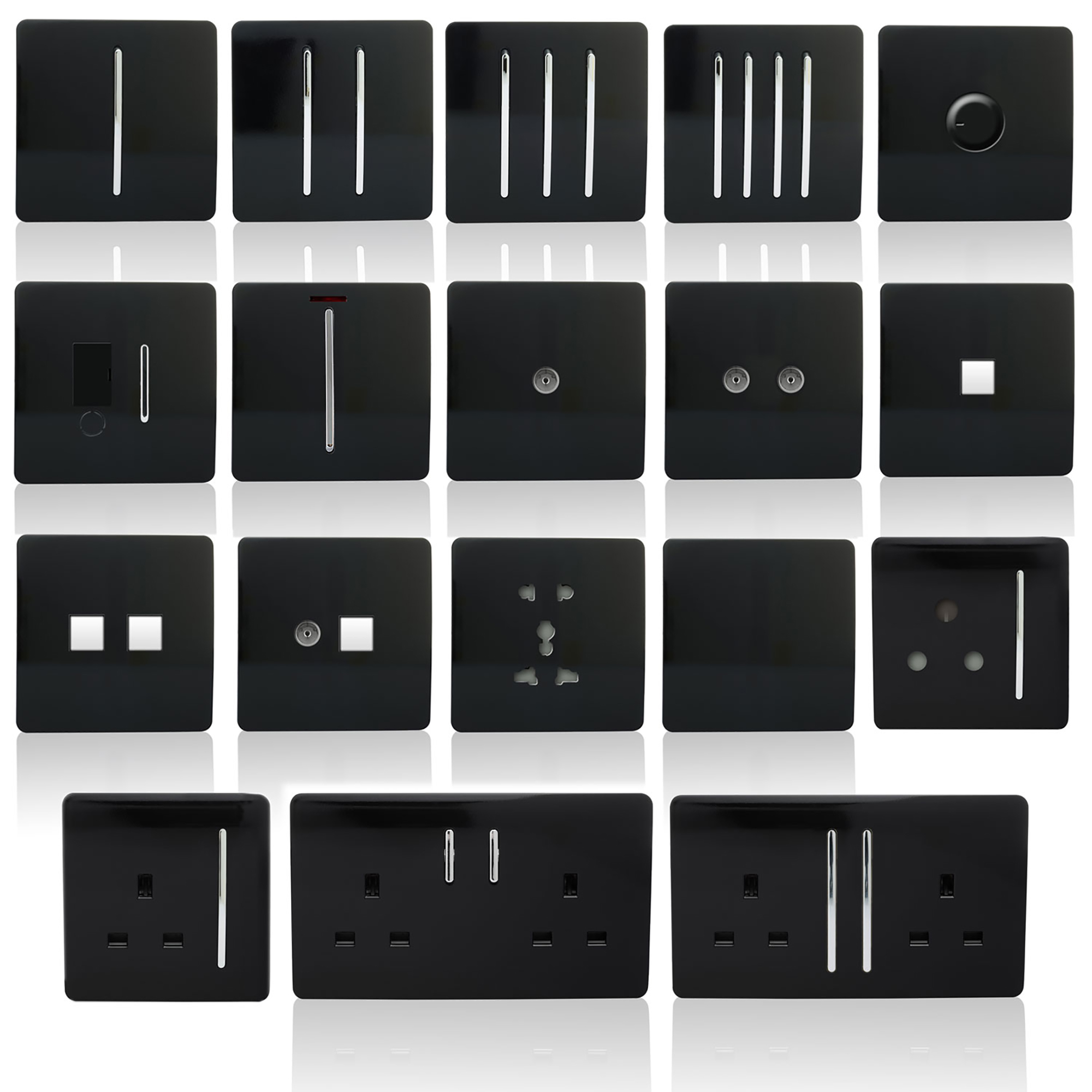 Trendi Black Wiring Accessories Trendi Decorative Screwless